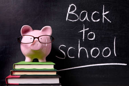 fees: Pink piggy bank with glasses standing on textbooks in front of a blackboard with back to school message.