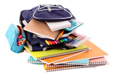 fournitures scolaires: Cartable avec des livres et de l'équipement Banque d'images