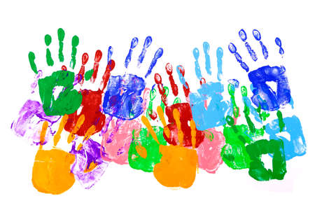 Multicolor handprints on a white background