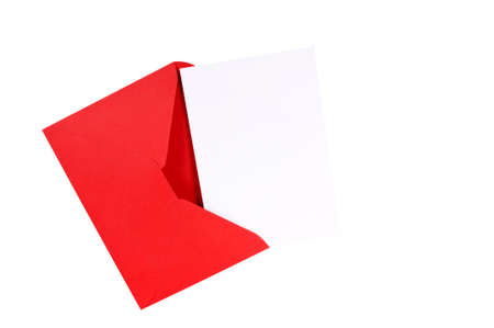 red envelope: Red envelope with blank white greeting card