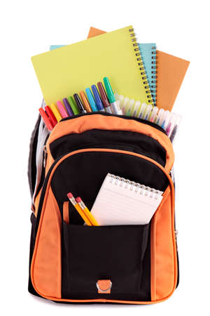 pencil paper: Bolso de escuela con el estudiante fuentes