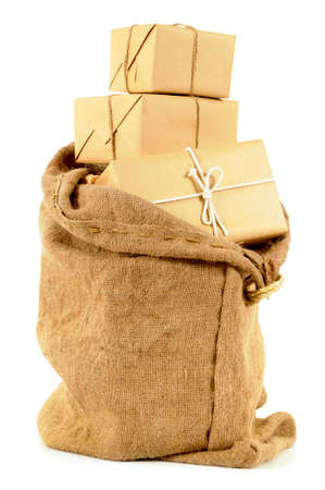 mail: Mail sack or bag with several brown paper packages Stock Photo