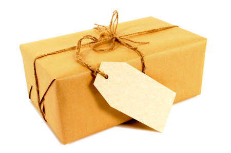 manila: Brown paper package tied with string