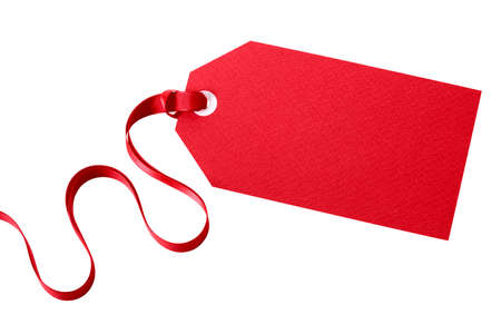 tag: Red gift tag with red ribbon isolated on white