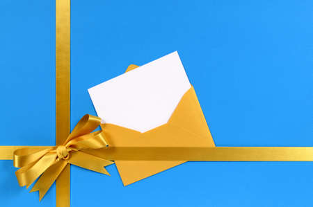 envelopes: Blue and gold gift with blank invitation or greetings card.