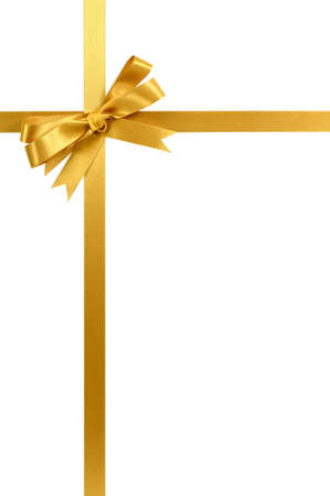 Gold gift ribbon and bow isolated on white vertical Фото со стока