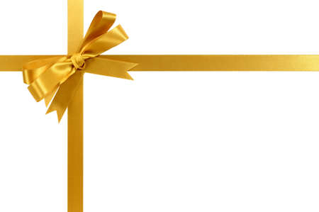 Gold gift ribbon and bow isolated on white Banco de Imagens - 45601459