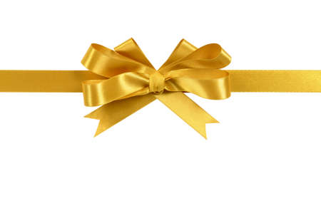 Gold gift ribbon and bow isolated on white