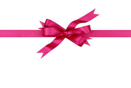 pink christmas: Pink gift ribbon and bow isolated on white background horizontal