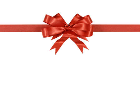Red gift ribbon and bow isolated on white background horizontal