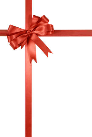 christmas bow: Red gift ribbon and bow vertical