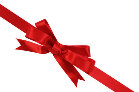 christmas bow: Diagonal red gift bow and ribbon isolated on white background