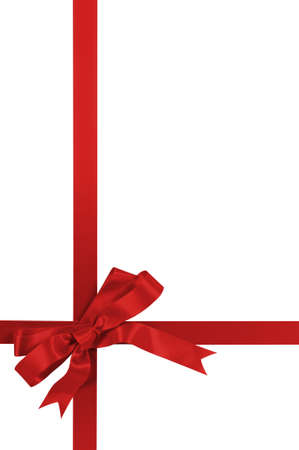 Red gift bow and ribbon isolated on white background vertical