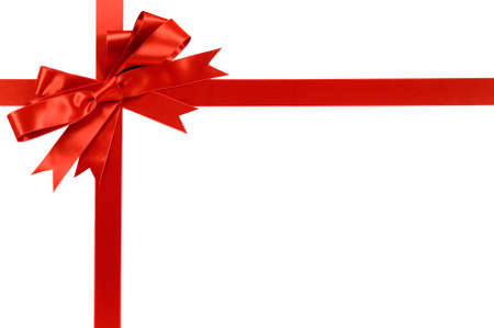 Red gift bow and ribbon isolated on white background 스톡 콘텐츠