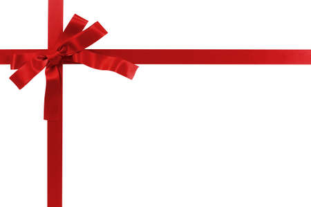 Red gift bow and ribbon isolated on white background Фото со стока