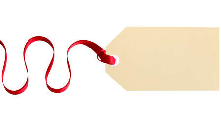 gift ribbon: Plain gift tag with red ribbon isolated on white background Stock Photo