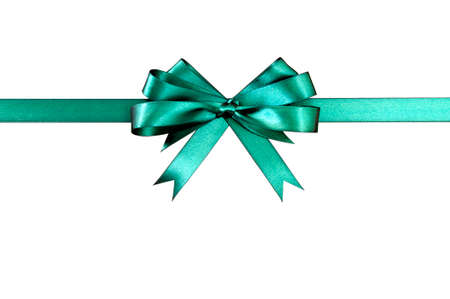 Green gift ribbon bow straight horizontal isolated on white background