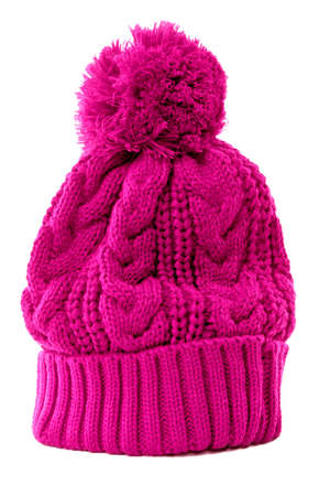 pink hat: Pink bobble hat or knit hat isolated against a white background. Stock Photo