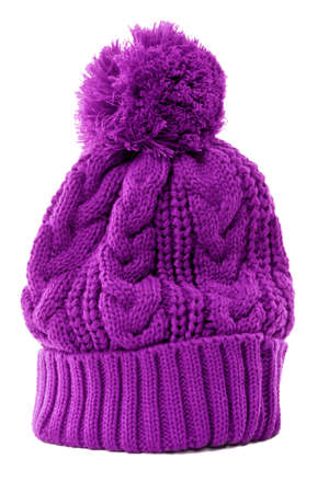 bobble: Purple bobble hat or knit hat isolated against a white background.