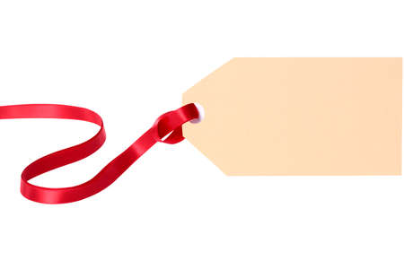 tag: Plain gift tag with red ribbon isolated on white background Stock Photo