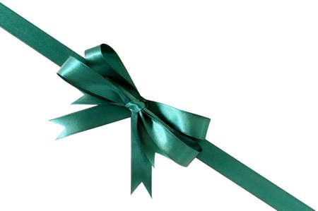 gift ribbon: Green gift ribbon bow corner diagonal isolated on white background