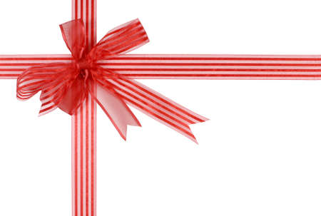 christmas isolated: Red striped gift ribbon bow isolated on white background