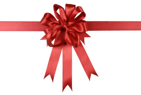 gift ribbon: Red gift ribbon bow or rosette isolated on white background