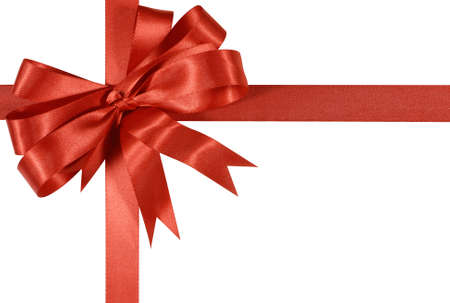 white bow: Red gift ribbon bow isolated on white background Stock Photo