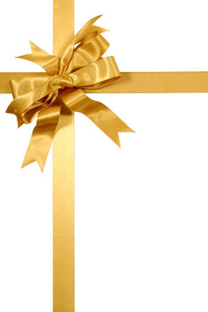 Yellow gold gift ribbon bow isolated on white background vertical Banque d'images