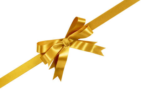 Gold corner diagonal gift bow ribbon isolated on white background Фото со стока