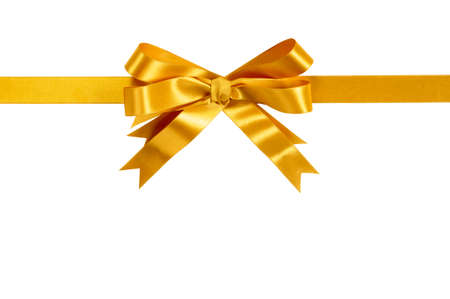 Gold gift bow ribbon horizontal isolated on white background