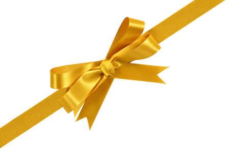 Gold Ecke diagonal Geschenk Bogen Band auf weißem Hintergrund