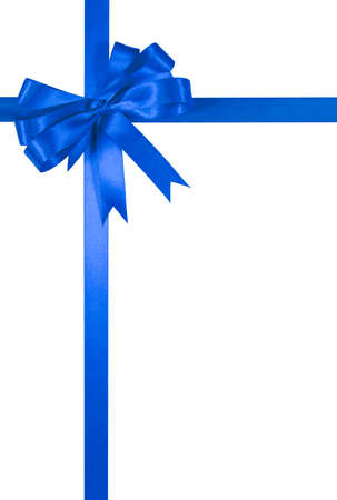 blue ribbon: Blue gift ribbon bow isolated on white background vertical