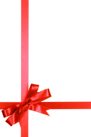 gift ribbon: Red gift ribbon bow isolated on white background vertical