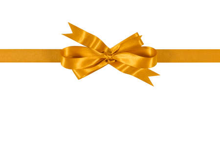 Gold gift ribbon bow isolated on white background straight horizontal Foto de archivo