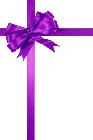 christmas gift: Purple gift ribbon bow isolated on white background vertical