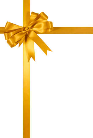 gold top: Gold gift ribbon bow isolated on white background vertical
