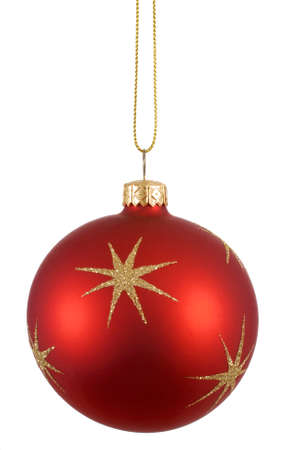red christmas ball: Red christmas ball or bauble with gold snowflake pattern isolated against a white background Stock Photo