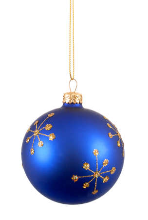 blue ball: Blue christmas ball or bauble with snowflake pattern isolated on white background Stock Photo