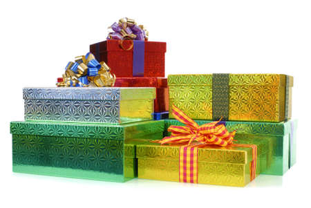 gift boxes: Small pile of gift boxes isolated on white background