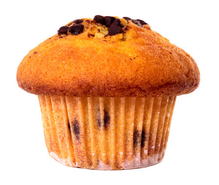 Chocolate chip muffin cake isolated on white background.