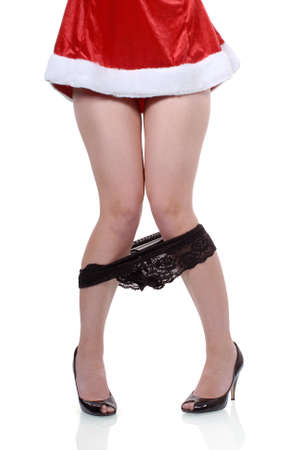 on off: Female santa party girl with panties falling down accident isolated on white background