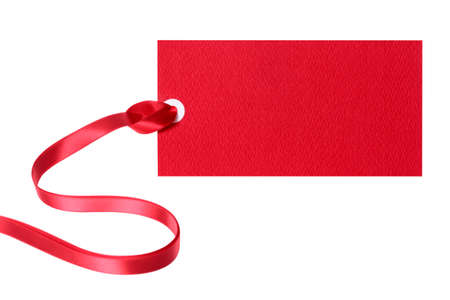 labelling: Price tag ticket or label with red ribbon isolated on white background