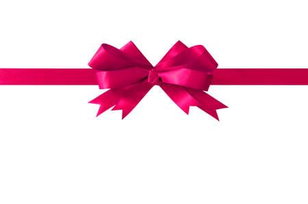 moño rosa: Cinta rosada del arco del regalo recta horizontal aislado en blanco. Foto de archivo