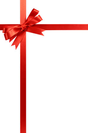 Red gift ribbon bow vertical corner border frame  isolated on white.