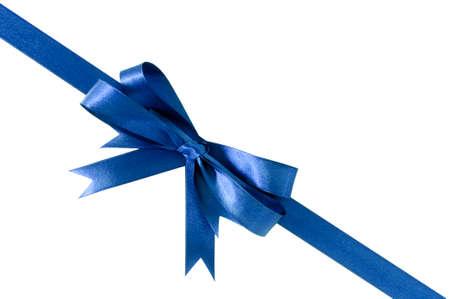 gift ribbon: Deep royal blue gift ribbon bow corner diagonal isolated on white.