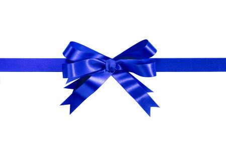 white ribbon: Royal blue gift ribbon bow straight horizontal isolated on white. Stock Photo