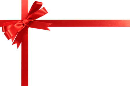 outs: Red bow gift ribbon Stock Photo