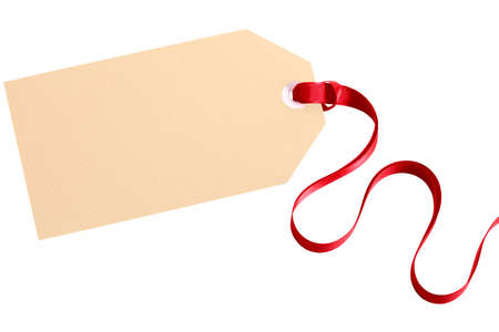 blank tag: Plain gift tag with red ribbon Stock Photo