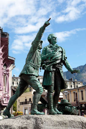 horace: Famous statue in the center of Chamonix village, French Alps, France.  Jaques Balmat shows Horace Benedict de Sassure the route up to the summit of Mont Blanc.